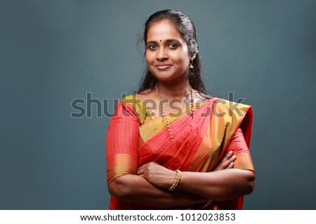 Portrait of a traditionally dressed woman of Indian origin
