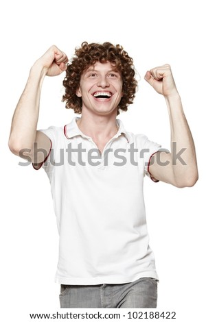 Portrait of a very happy young man screaming, over white background