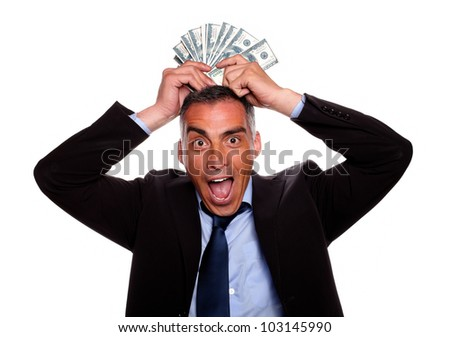 stock photo portrait of a victorious mature person having fun with the earned money and wearing a black suit on 103145990 The 26 year old actress left very little to the imagination in her ...