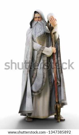 Portrait of a white wizard with staff on an isolated white background. 3d rendering Сток-фото ©