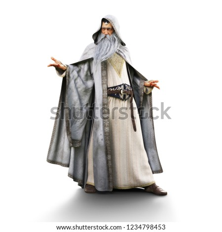 Portrait of a wizard preparing to cast a spell on an isolated white background. 3d rendering Сток-фото ©
