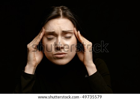 Portrait of a woman acting very stressed