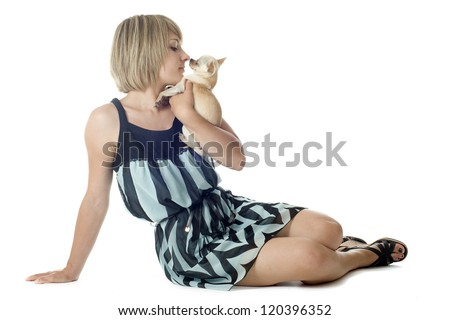 portrait of a woman and chihuahua in front of white background