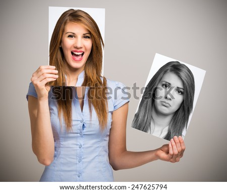 Portrait of a woman changing her mood Stock photo ©