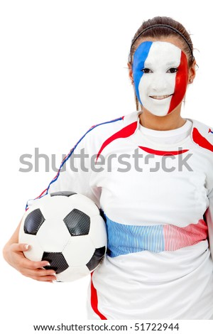 Portrait of a woman holding a soccer ball with the french flag painted on her face isolated over white