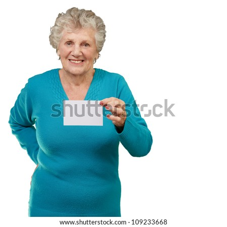 Portrait Of A Woman Holding Blank Paper On White Background
