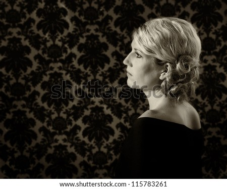 Portrait of a woman in 30's or 40's side view