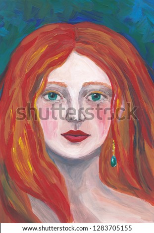 Portrait of a woman oil painting. Girl with green eyes and red hair abstract artwork. Impressionist art. Beautiful female face on blue green background. Illustration for cards, blogs, templates.
