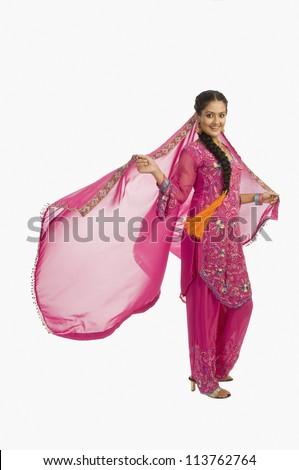 Portrait of a woman posing in salwar kameez