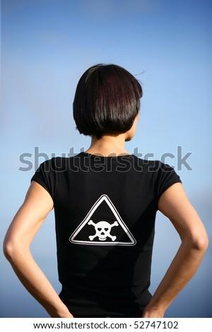 Portrait of a woman seen of back