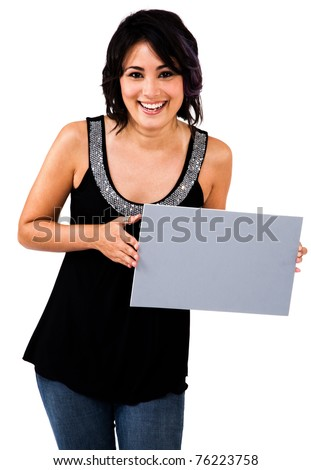 Portrait of a woman showing an empty placard isolated over white