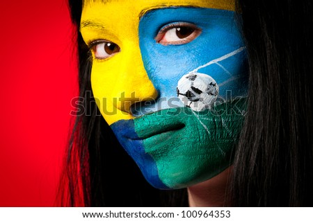 portrait of a woman ukraine football fans