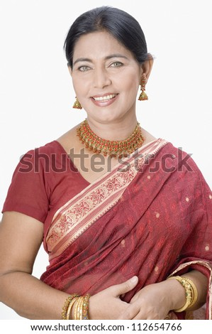 Portrait of a woman wearing a sari - stock photo