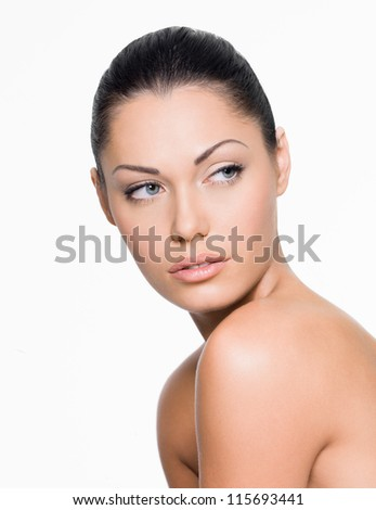 Portrait of a woman with beautiful face looking side- isolated on white