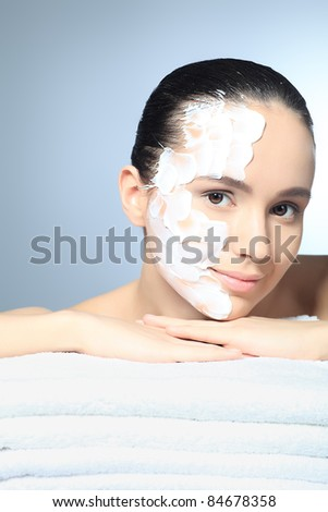 Portrait of a woman with spa mask on her face. Healthcare, medicine.