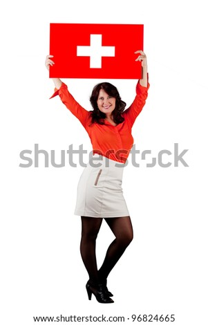 Portrait of a woman with the flag of Switzerland