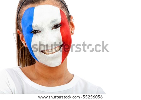 Portrait of a woman with the French flag painted on her face - over a white background - stock photo