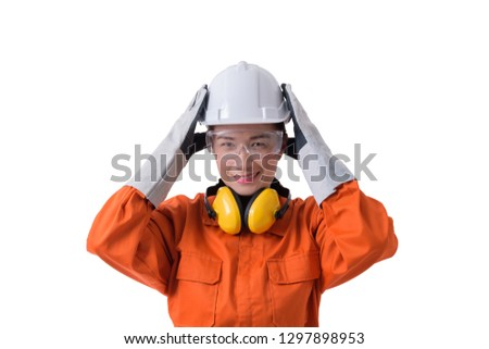ee826ed7f3c portrait of a woman worker in Mechanic Jumpsuit with helmet earmuffs  Protective gloves and Safety goggles