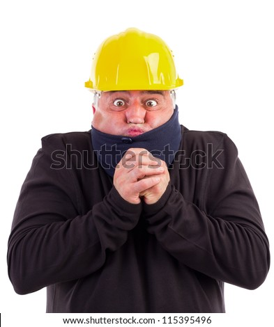 portrait of a worker suffering cold on white background