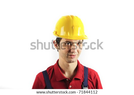 portrait of a worker wearing overalls