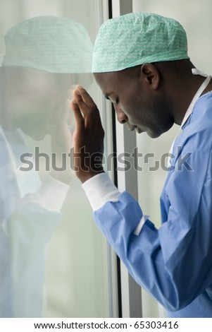 Portrait of a worried male surgeon