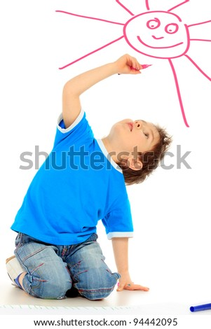 Portrait of a 5 year boy. Isolated over white background.