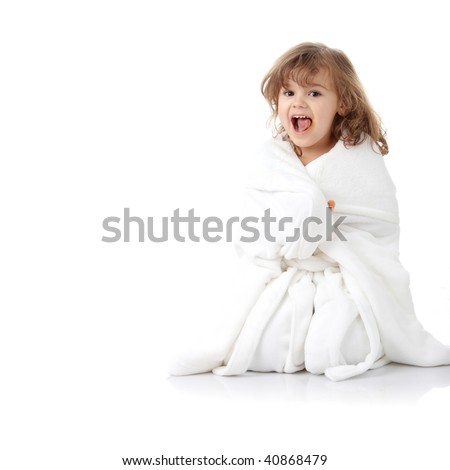 stock photo : Portrait of a 5 year old girl after bath, isolated on white background