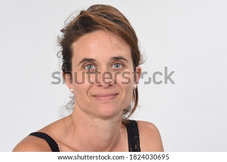 portrait of a 40 year old woman without makeup on white background Photo stock ©