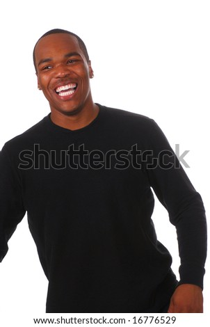 Portrait of a young African American man on white background