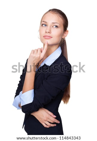Portrait of a young attractive business woman thinking with hand on chin isolated on white background