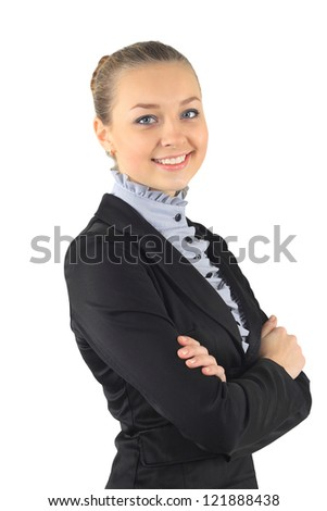 Portrait of a young attractive business woman.  white background