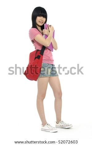Portrait of a young attractive student at school