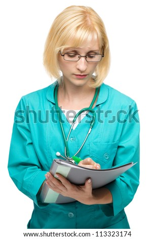 Portrait of a young attractive woman wearing doctor uniform and glasses writing prescription, isolated over white