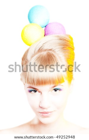 Portrait of a young attractive woman with creative make-up and hair-style like an ice-cream