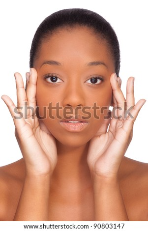 Portrait of a young beautiful african woman, Isolated over white background