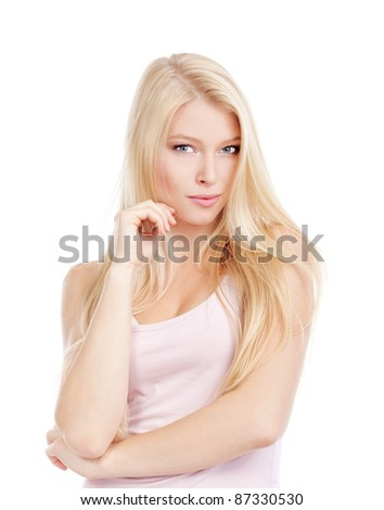 portrait of a young beautiful woman with blond hair - isolated on white