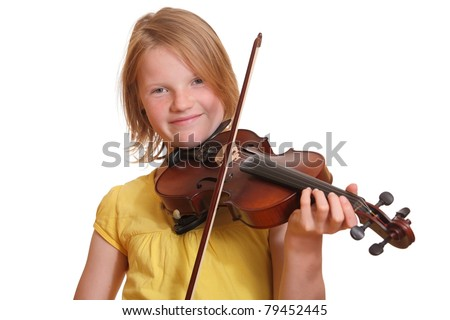 Portrait of a young blond teenage girl playing violin