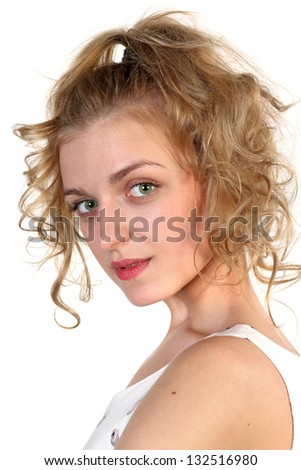 Portrait of a young blonde attractive girl  isolated over white background