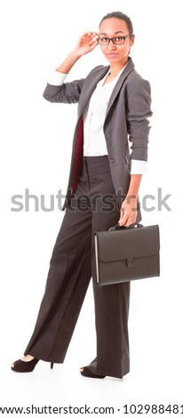 Portrait of a young business woman waving hand on a white background
