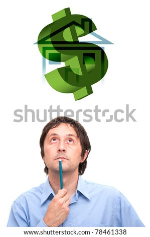 Portrait of a young businessman holding a pencil and thinking.