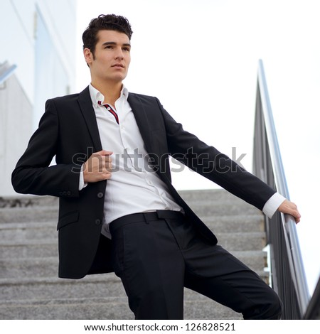 Portrait of a young businessman in an office building
