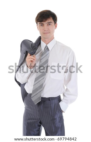 Portrait of a young businessman in suit. Isolated on white background