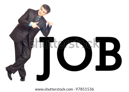 """Portrait of a young businessman with inscription """"JOB"""". Isolated on white - stock photo"""