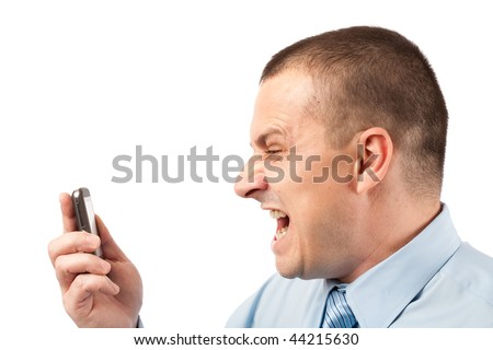 Portrait of a young businessman yelling on phone, isolated on white background