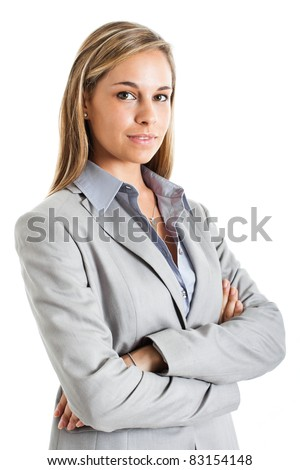 Portrait of a young businesswoman isolated on white