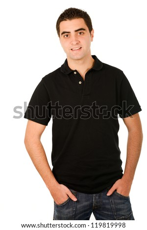 Portrait of a young casual man portrait isolated on white background