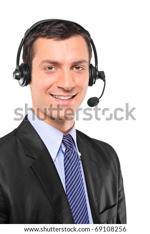 Portrait of a young customer service operator wearing a headset isolated on white background