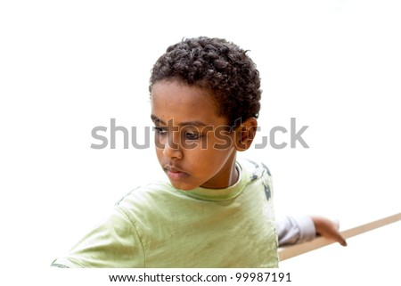 Portrait of a young Ethiopian boy looking to the side