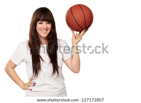 Portrait Of A Young Female With A Basket Ball On White Background