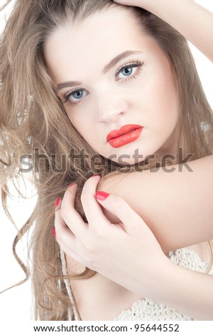 portrait of a young girl doll in the image isolated on clear white background